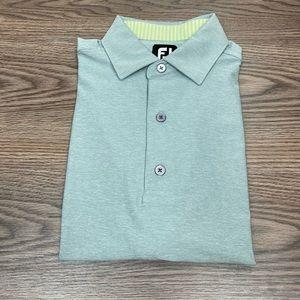 FootJoy Solid Grey/Green Golf Polo Shirt M